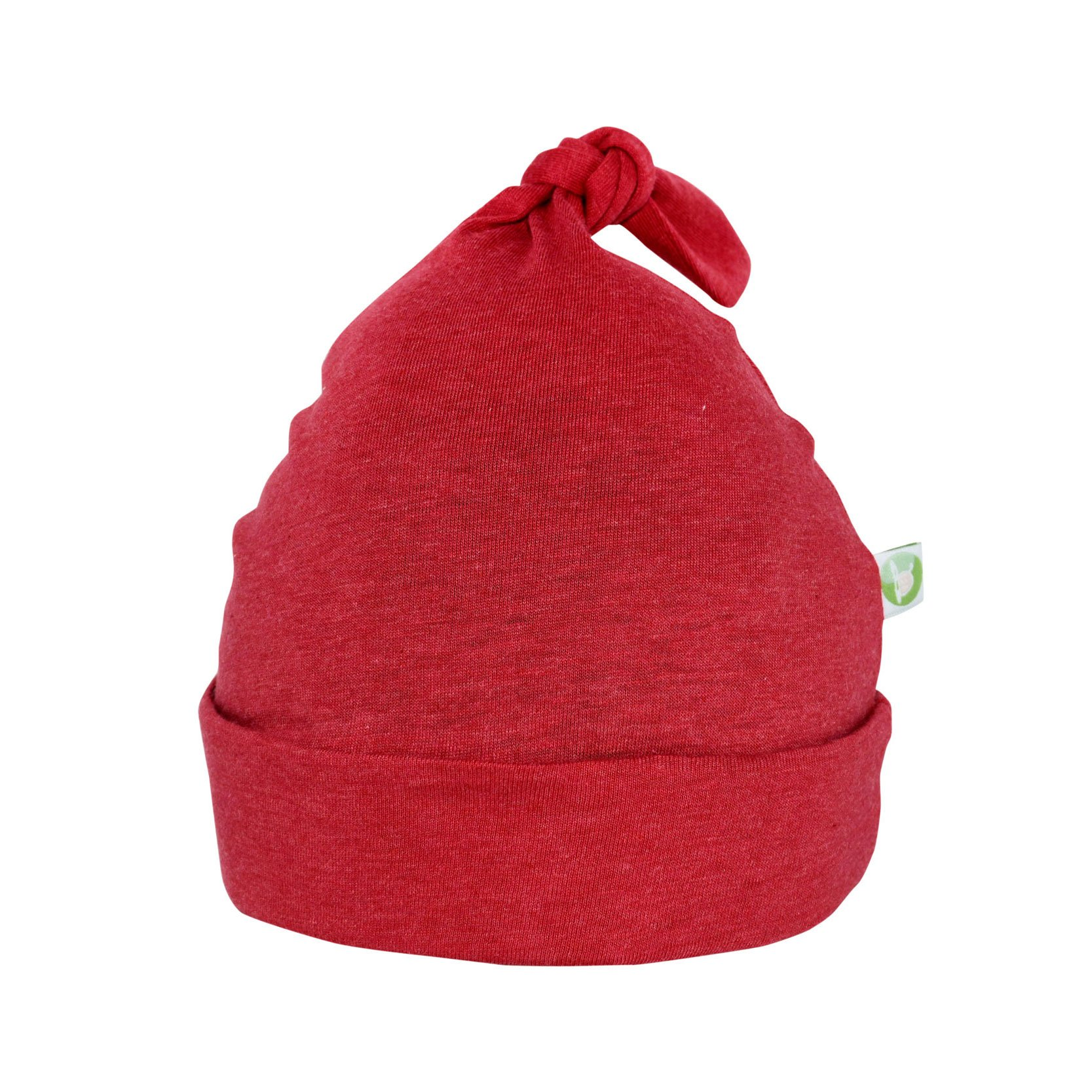 Bum Chicoo Unisex Baby Beanie Hat -Organic Cotton Top Knot Stretchy Soft Hat (Red, 3-6 Months)