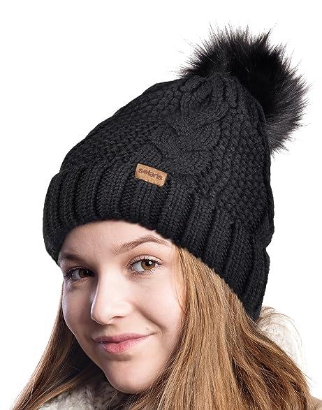 915a14a271d Womens Pom Pom Beanie Winter Hat Stretch Soft Knit Skull Ski Cap, Best  gifts for Christmas, Birthday, Holiday