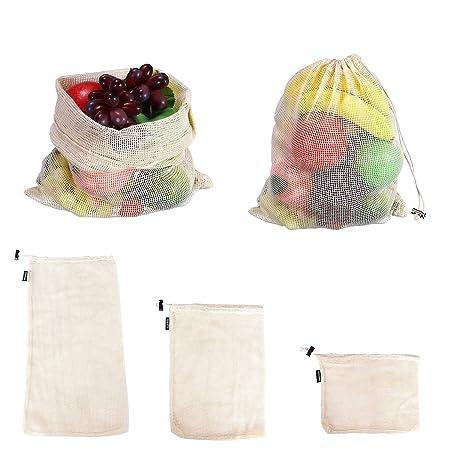 Bolsas de malla de algodón reutilizables, varios tamaños ...