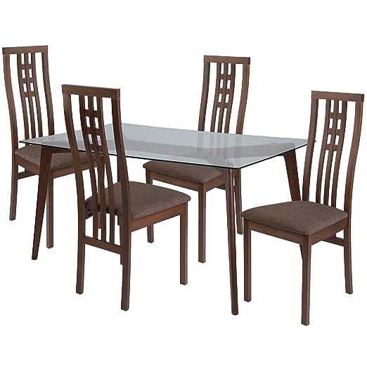 Flash Furniture Clearview - Juego de mesa de comedor de madera de ...