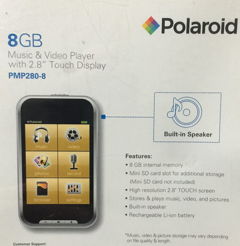 amazon com polaroid pmp280 8 8gb music video player with 2 8 rh amazon com