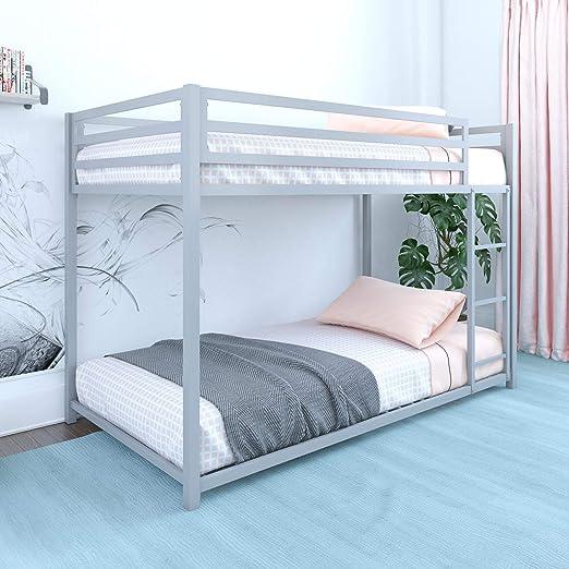 DHP Miles Twin Metal Bunk Bed, Kid\'s Bedroom, Space-Saving Design,  Twin/Twin, Silver