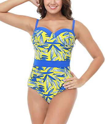 f1f383f064bfa Beauty Collector Blue Floral Pin Up Chic One Piece Bathing Suit Ladies Retro  Underwire Swimsuit at Amazon Women s Clothing store