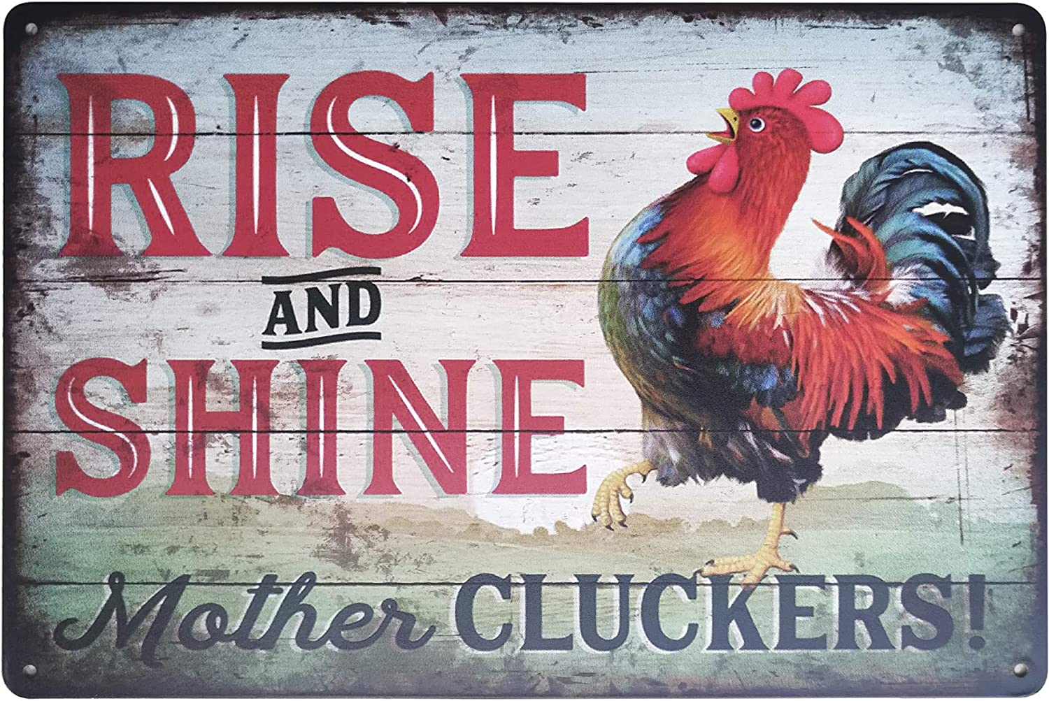 """FSTIKO Rise and Shine Mother Cluckers Funny Chicken Signs Retro Vintage Metal Tin Sign Farm Kitchen Decorative Farmhouse Country Home Decor 8"""" X 12""""Inch"""
