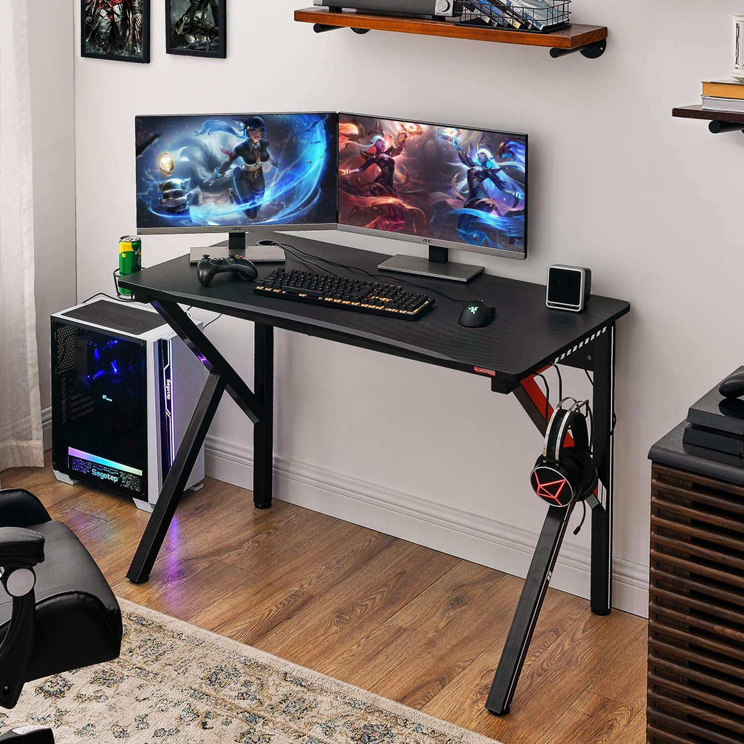 Gamer Workstation with Socket of 3-Outlet /& 2 USB Ports Red Mr IRONSTONE Gaming Desk 45.2 W x 23.6 D Home Office Computer Desk Cup Holder Headphone Hook and Cable Management