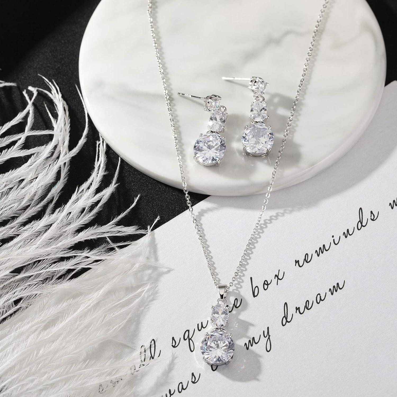 Joeyan Collier Y Strass Boucles Pendantes Longue Argent Ensemble De Bijoux Femme Mariage