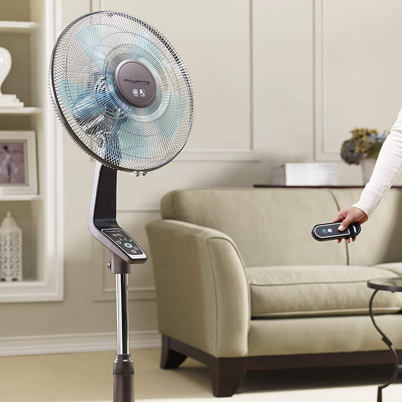 Amazon.com: Rowenta Fan, Oscillating Fan with Remote Control, Standing Fan, 4-Speed, Silver (Certified Refurbished): Home & Kitchen