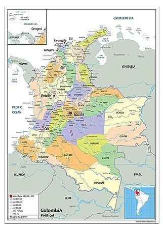 Colombia Mapa Político - Papel laminado [ga] A0 Size 84.1 x 118.9 cm: Amazon.es: Oficina y papelería