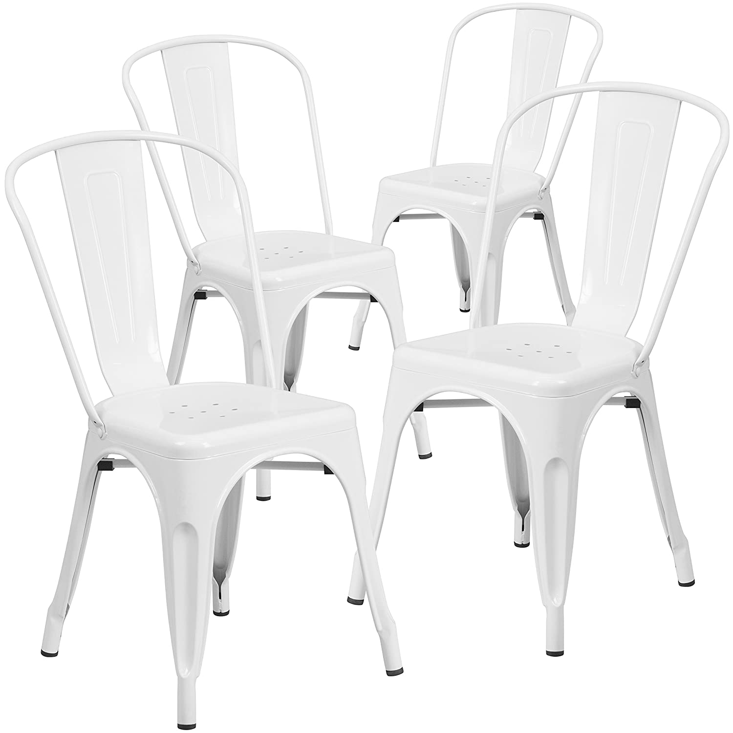 Amazon com flash furniture 4 pk white metal indoor outdoor stackable chair kitchen dining