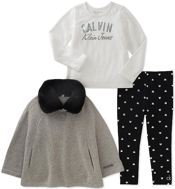 Amazon.com: Calvin Klein bebé Poncho de las niñas 3 PC Set ...