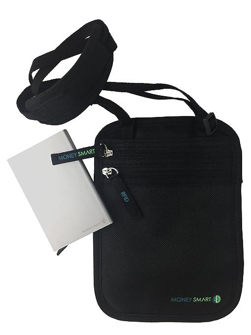 Money Smart (Pack de 2) Portadocumentos de Cuello y Cartera de Viaje con Protección