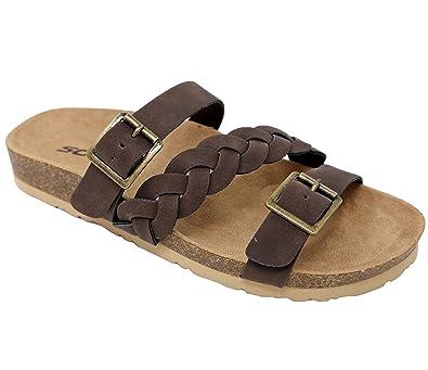 e7ce17d9f731a Women s Braided Strap Slip On Cork Flat Sandals Opoen Toe Slides SMK