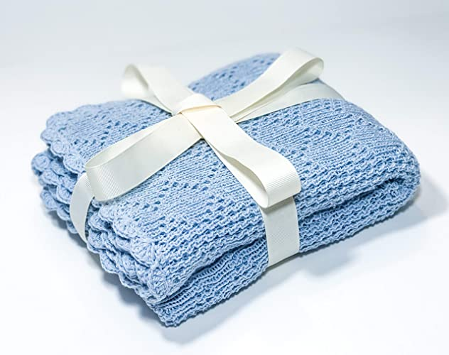Amazon com: Cotton baby blanket Baby blue blanket Knit
