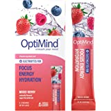 OptiMind Focus + Energy: Sugar-Free, Electrolyte Water Booster for Nootropics, Vitamins, & Energy (Natural Mixed Berry…
