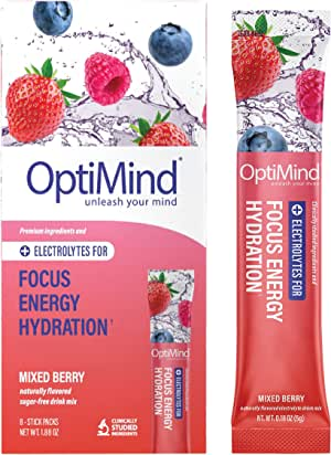 OptiMind Focus + Energy: Sugar-Free, Electrolyte Water Booster for Nootropics, Vitamins, & Energy (Natural Mixed Berry Flavor, 8 Pack)