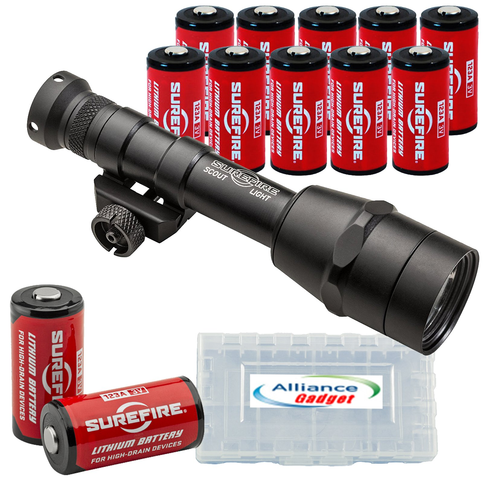 Surefire M600IB Scout Light Auto Adjusting IntelliBeam LED WeaponLight with 12 Extra Surefire CR123A Batteries and 3 Alliance Gadget Battery Cases by SureFire