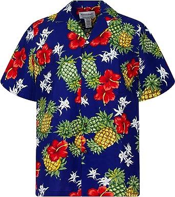 KYs | Original Camisa Hawaiana | Caballeros | S - 4XL | Manga Corta | Bolsillo Delantero | Estampado Hawaiano | Piña | Azul: Amazon.es: Ropa y accesorios
