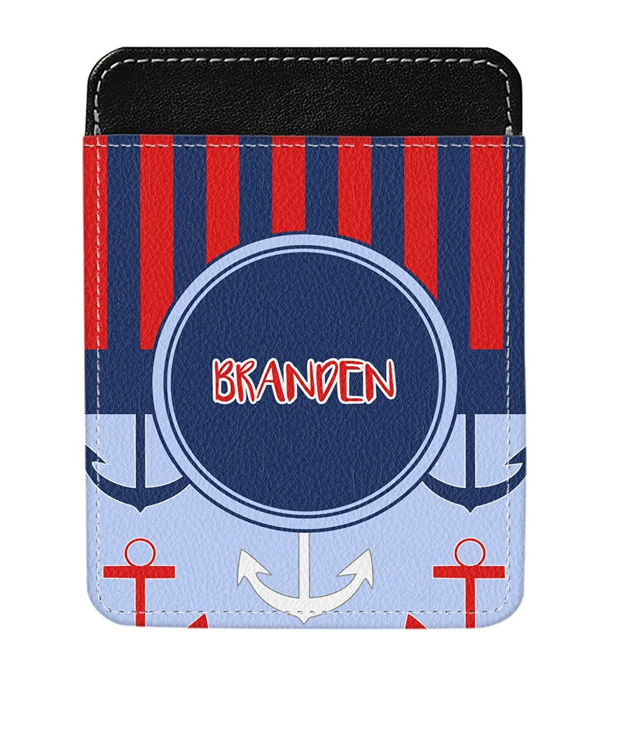 Classic Anchor /& Stripes Genuine Leather Money Clip Personalized