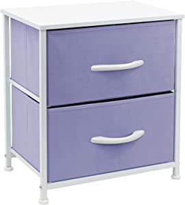 Sorbus Nightstand with 2 Drawers - Bedside Furniture & Accent End Table Chest for Home, Bedroom, Office, College Dorm, Steel Frame, Wood Top, Easy Pull Fabric Bins (2-Drawer, Pastel Purple)