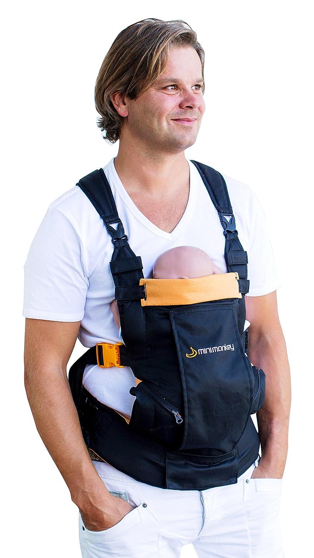 Babytrage, ergonomisch, dynamisch, Schwarz/Orange – 4-in-1 – wasserfest