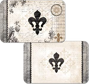 Counterart French Fleur De Lis Reversible Washable Vinyl Placemats Set of Four