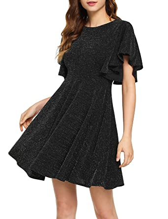 31b40d6620 Romwe Women s Stretchy A Line Swing Flared Skater Cocktail Party Dress  Black  XS
