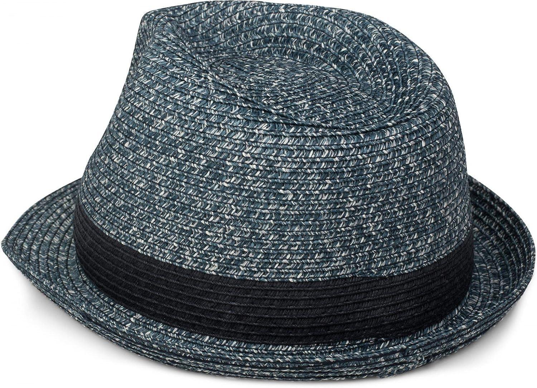 Strohhut Papierhut styleBREAKER klassischer Trilby Hut in Melange Optik mit Krempe Unisex 04025018