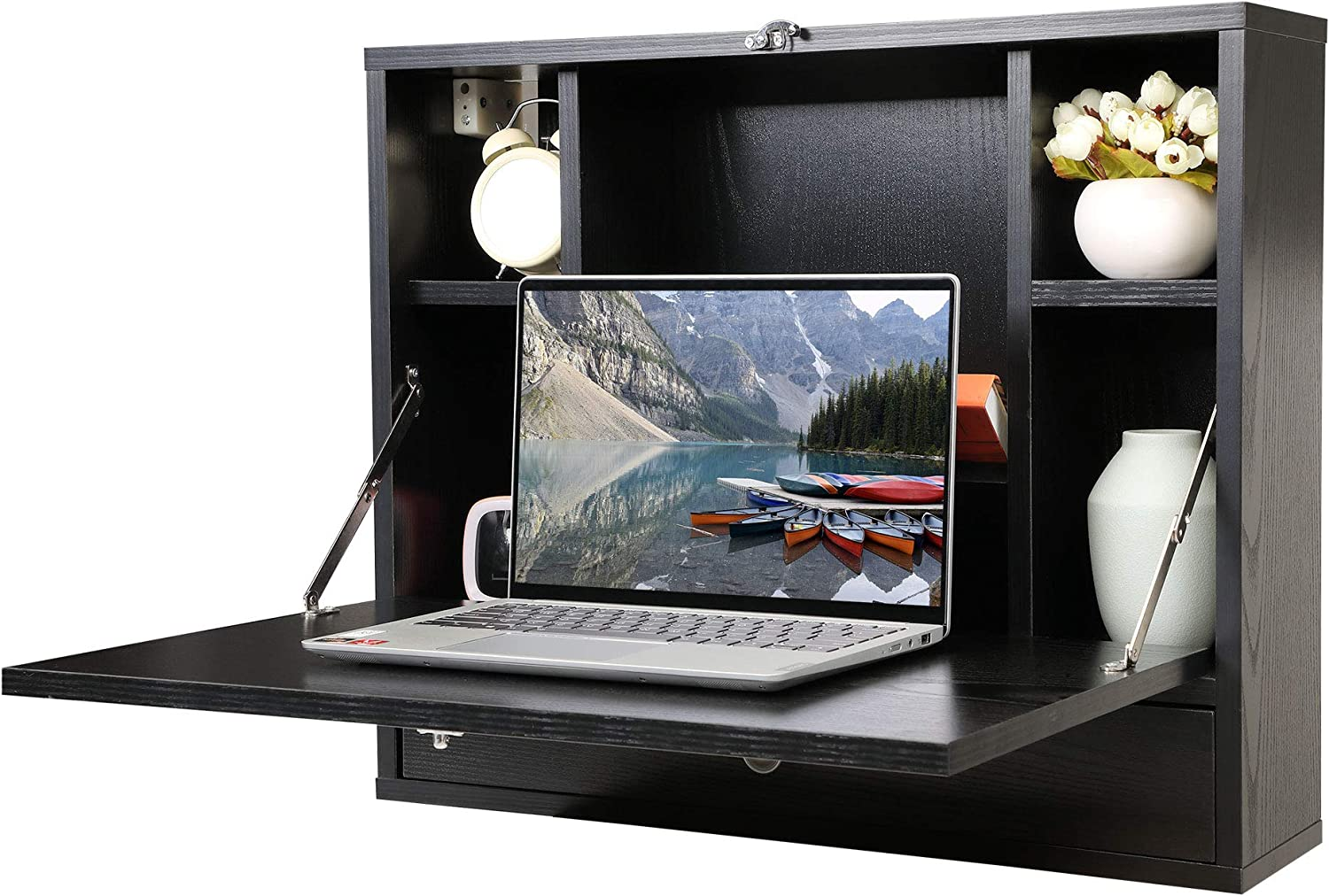 JAXPETY Wooden Wall-Mounted Space-Saving Desk, Fold Out Computer Laptop Desk with Storage Bookcase & Drawer, Convertible Writing Desk for Home Office, Black