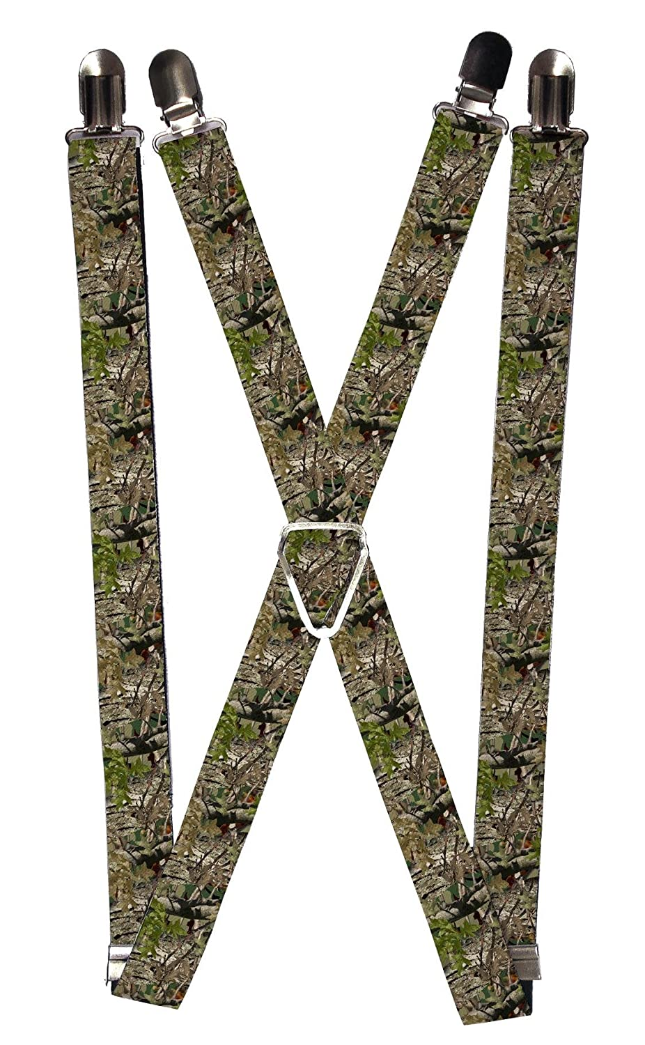 Buckle Down Men's Elastic 1 Inch Wide Clip-End Camouflage Suspenders, Camouflage