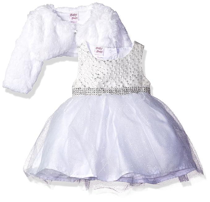 c746767f Blueberi Boulevard Baby Girls' Sparkle Tulle Faux Fur Jacket Dress Set,  Silver, 12