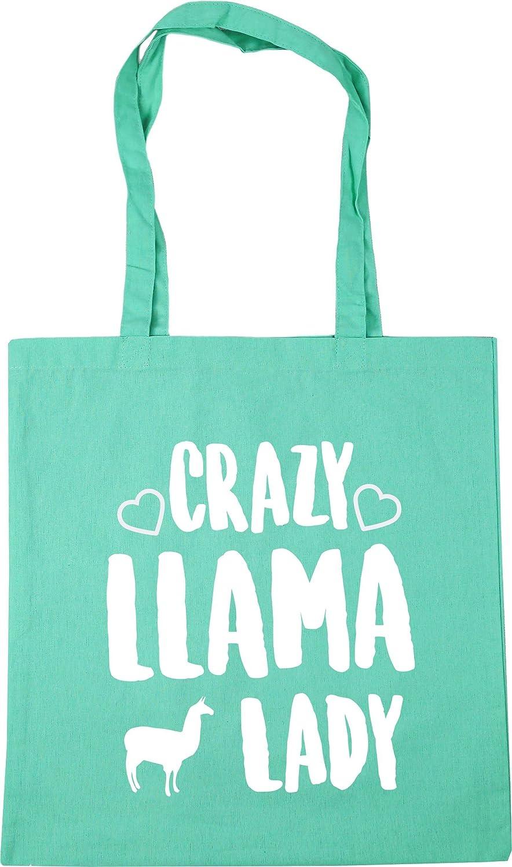 Crazy alpaca lady Tote Shopping Gym Beach Bag 42cm x38cm 10 litres
