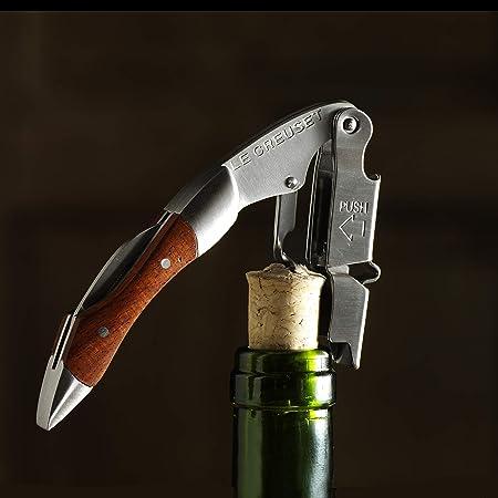 LE CREUSET WT110 Sacacorchos Sommelier de Doble Palanca Extrae el tapón de la Botella de Vino, Madera