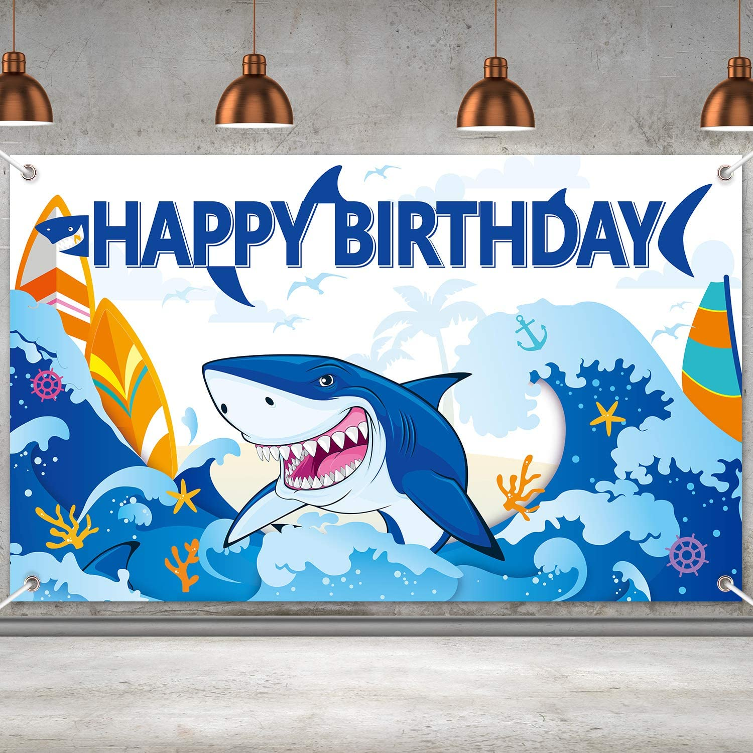 Shark Party Decorations Shark Birtjday Banner Backdrop Large Shark Zone Happy Birthday Yard Sign Backgroud Shark Themed Birthday Backdrop Party Indoor Outdoor Car Decorations Supplies