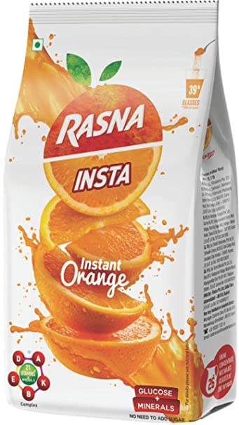 Rasna Fruit Plus Orange Polypouch, 750g (Pack of 2)