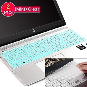 [2Pcs] Keyboard Cover Skin for hp Envy 17 Series/HP Laptop 17t 17-BS/BW/CA/by,HP Pavilion X360 15.6 inch,Envy x360 15m-bp/bq,HP Spectre x360 15-ch011dx,Pavilion 15-cb/cc/cd 15-bw 16-bs,Mint+Clear