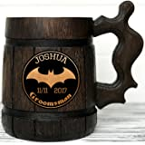 Personalized Batman Wooden Mug / Batman Mug / Super Hero Gift / Wood Beer Mug / Super Hero Mug. Groomsmen Gift. Groom Best Man Gift K56