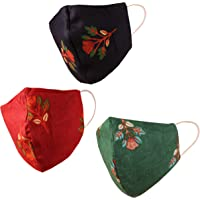 Floral design Face Masks Reusable Machine Washable Handcrafted Cotton Fabric Double Layer Snug & Comfortable pattern with Elastic Ear Loops For Women. Pack of 3 Black Green Dark Red