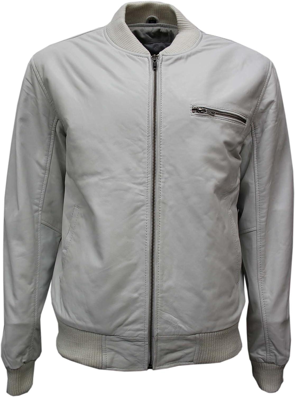 70s Retro Bomber Mens White Cool Classic Soft Italian Nappa Leather Jacket 275
