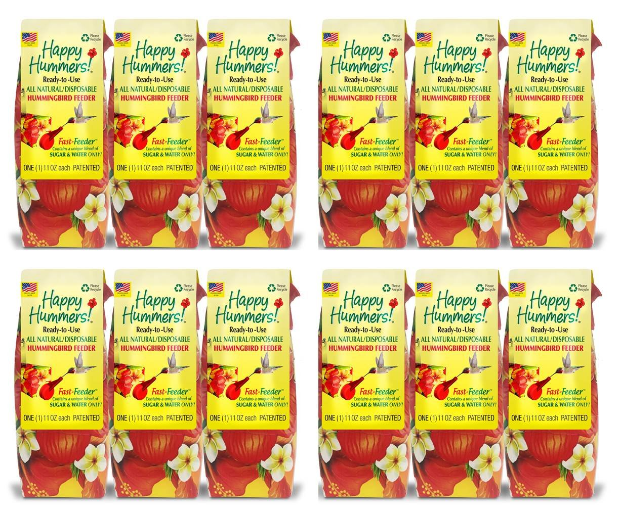 EZNectar Fast Feeder 11 fl. oz, (12) Disposable Feeders with All-Natural Nectar