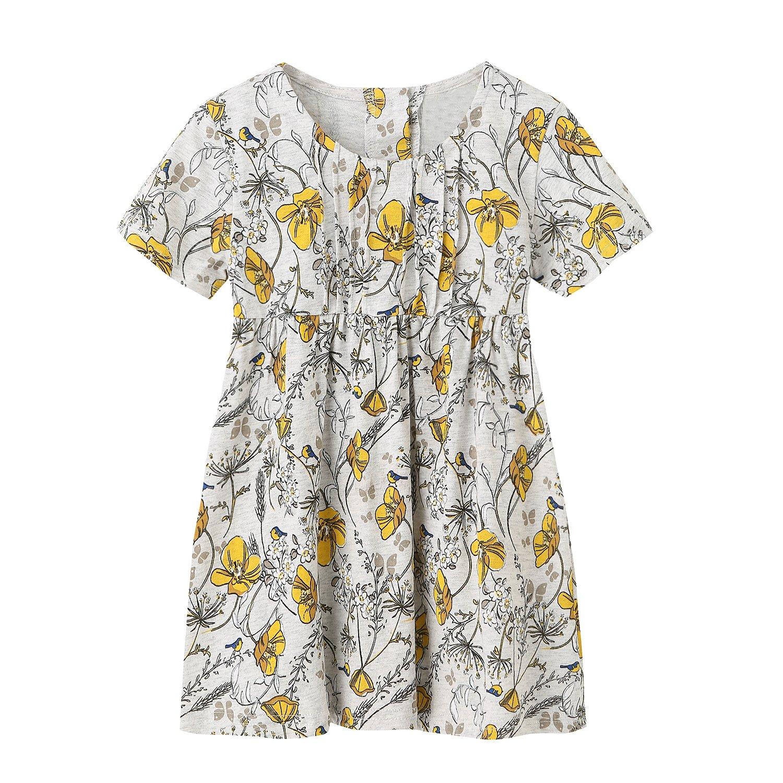 HowJoJo Girls Summer Cotton Dresses Short Sleeve Casual Dress for Girls 6T