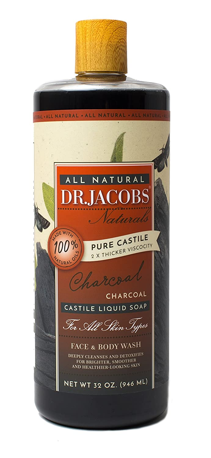 Dr.jacobs Naturals Pure Castile Liquid Face and Body Wash, Charcoal, 32 Ounce