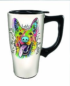 Spoontiques 12772 Dean Russo German Shepherd Ceramic Travel Mug, Off-White