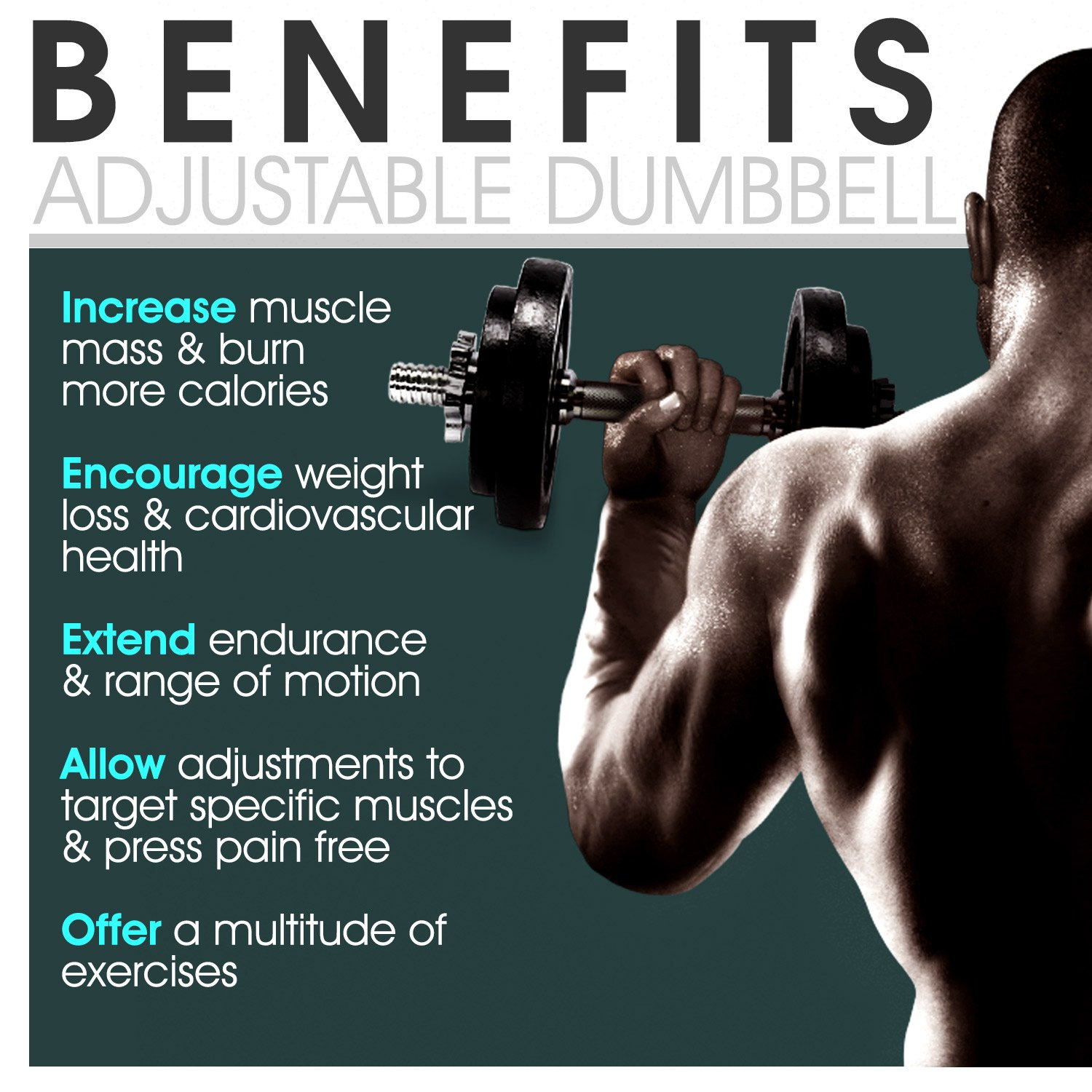 Yes4All Adjustable Dumbbells - 52.5 lb Dumbbell Weights (Single) by Yes4All (Image #6)