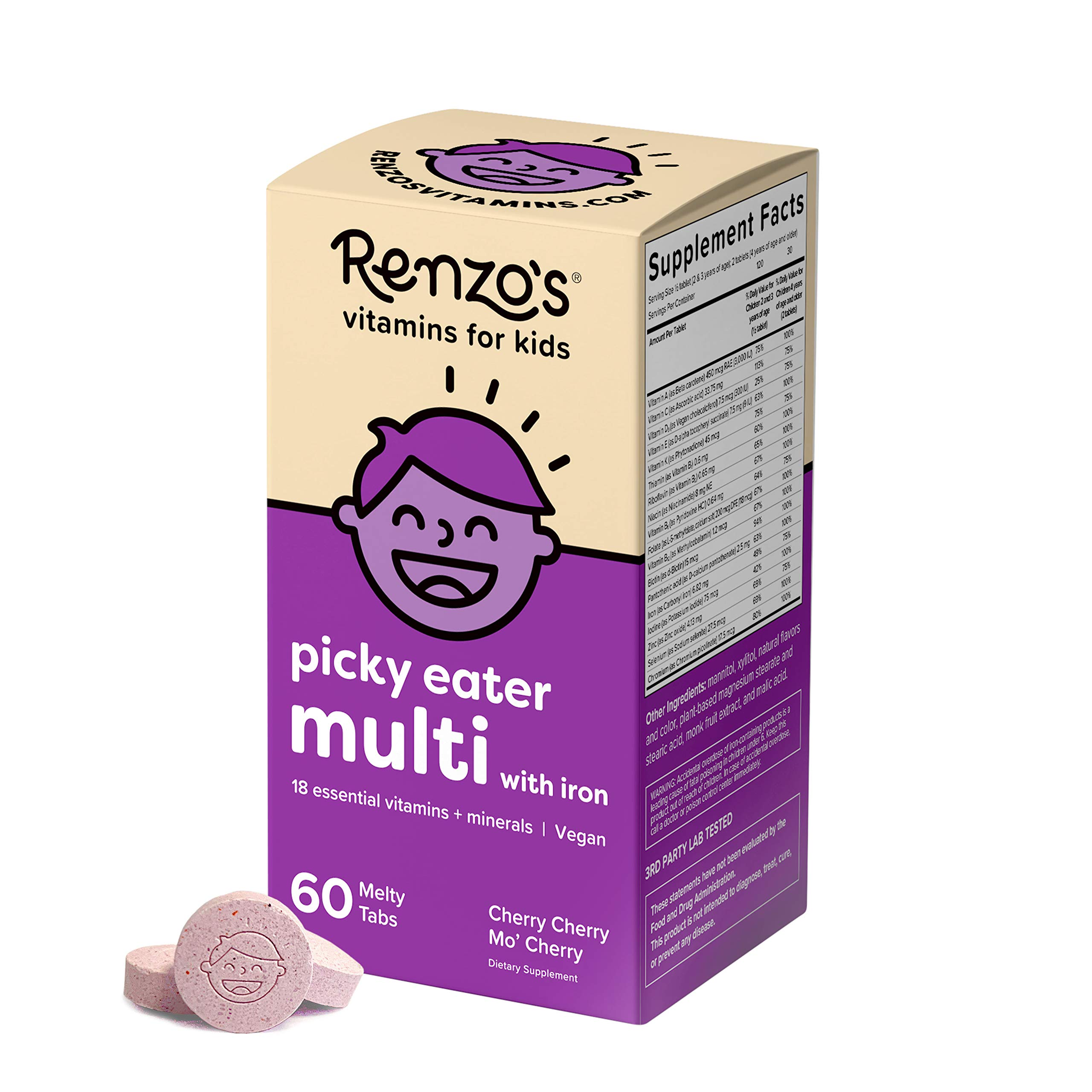 Renzo's Picky Eater Kids Multivitamin with Iron, Dissolvable Vegan Vitamins for Kids, Zero Sugar, Cherry Cherry Mo' Cherry Flavor, 60 Melty Tabs