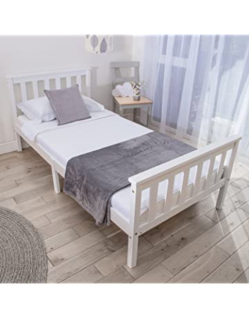 999df08f1d56 Home Treats Single Bed In White 3ft Solid Wooden Frame For Adults, Kids,  Teenagers