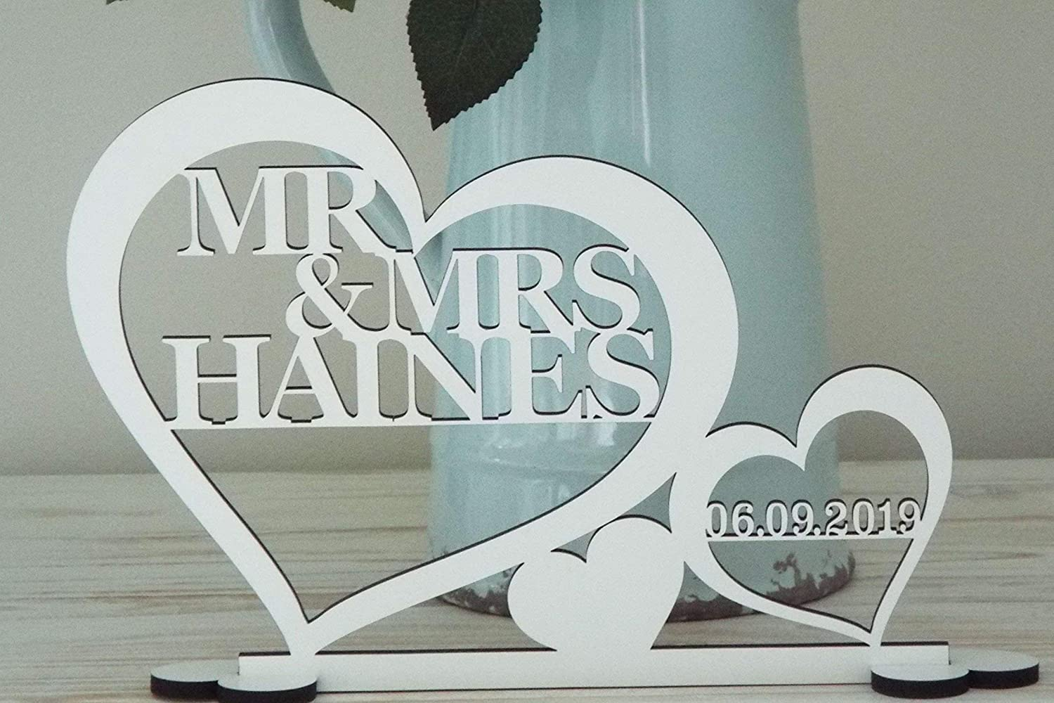 Personalised Mr & Mrs Sign Wedding Top Table Decoration with date, Freestanding