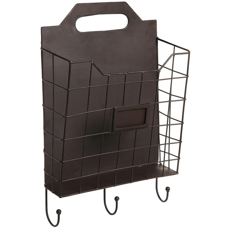 Amazon.com: Vintage Wall Mounted Rustic Metal Wire Magazine Storage /  Organizer Basket Rack W/ Coat Hooks   MyGift: Home U0026 Kitchen