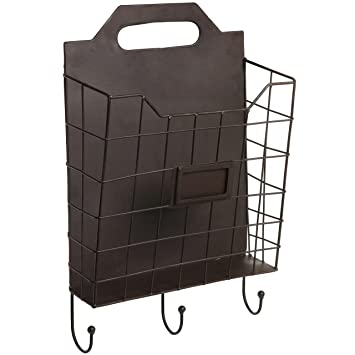 amazon.com: vintage wall mounted rustic metal wire magazine ... - Coat Hooks With Storage