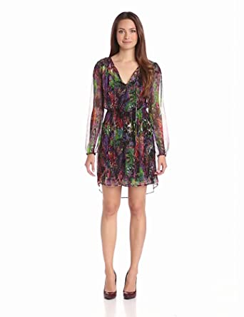 Charlie Jade Women's Long Sleeve Silk Chiffon Dress, Magenta/Green, X-Small
