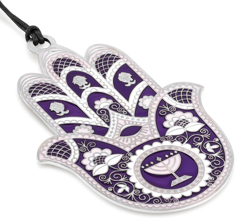 SURI Purple Hamsa Hand Wall Decor, Hamsa with Menorah, Silver plated chamsa evil eye metal art wall decor, Good luck charms
